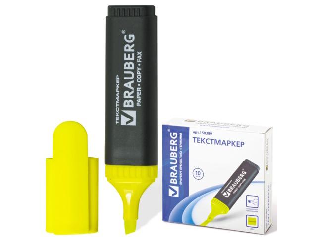 """Текстмаркер BRAUBERG """"Contract"""", скошенный наконечник 1-5 мм, лимонный, 150389"""