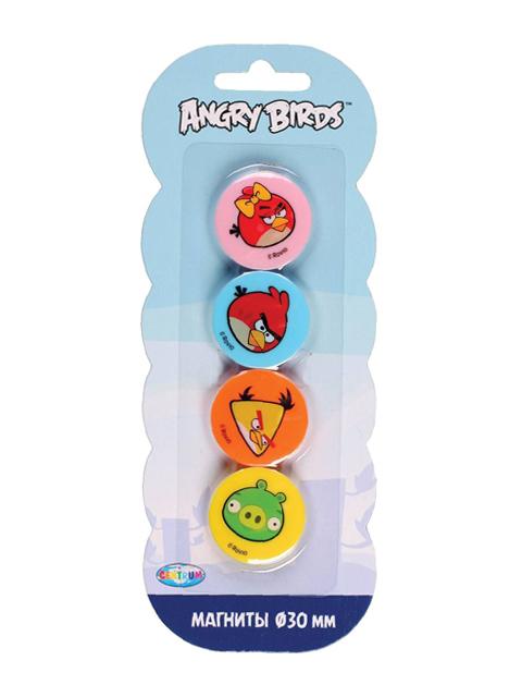 """Набор магнитов для доски """"Centrum. Angry Birds"""" 4шт. 30мм. в блистере"""