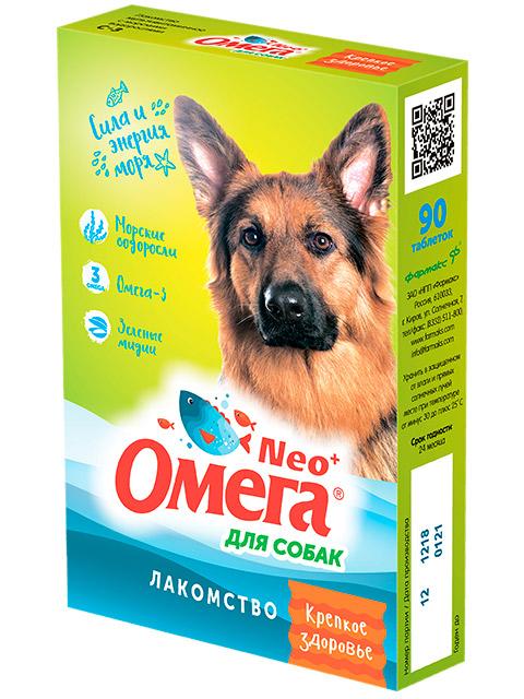 """ОМЕГА NEO+ С-З Мультивитаминное лакомство для собак с морскими водорослями """"Крепкое здоровье"""" 90 таблеток"""