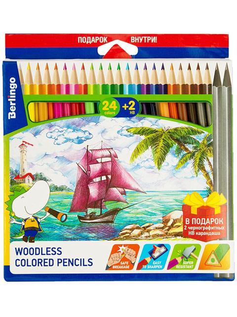 """Карандаши цветные Berlingo """"Корабли"""" 24 цвета+2 чернографитных, пластиковые, заточенные, трехгранные, в картонной упаковке"""
