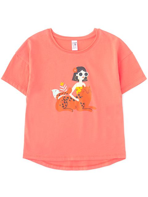 Футболка для девочки, коралловая, с рисунком, размер 64/122см