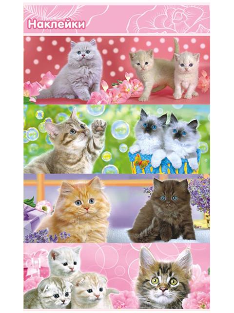 """Наклейки """"Коты"""" 8 штук на листе 10х16 см, с блестками"""