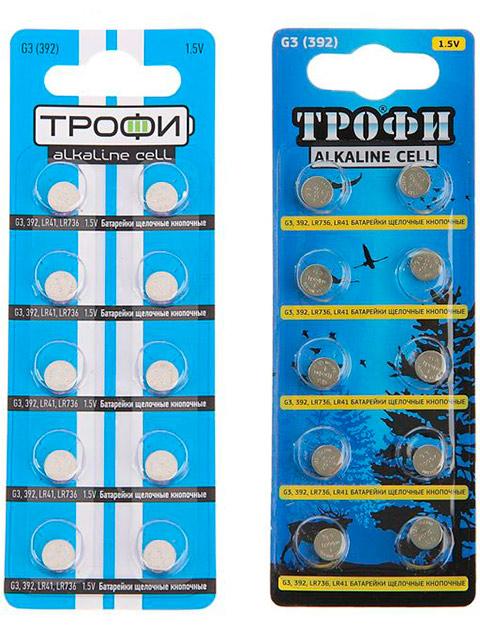 Батарейка щелочная (таблетка) Трофи G3 (392) LR736 LR41 (10 шт) блистер
