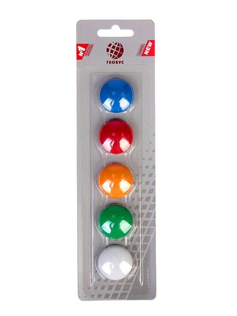 Набор магнитов для доски Globus 5 штук 30 мм, цветные