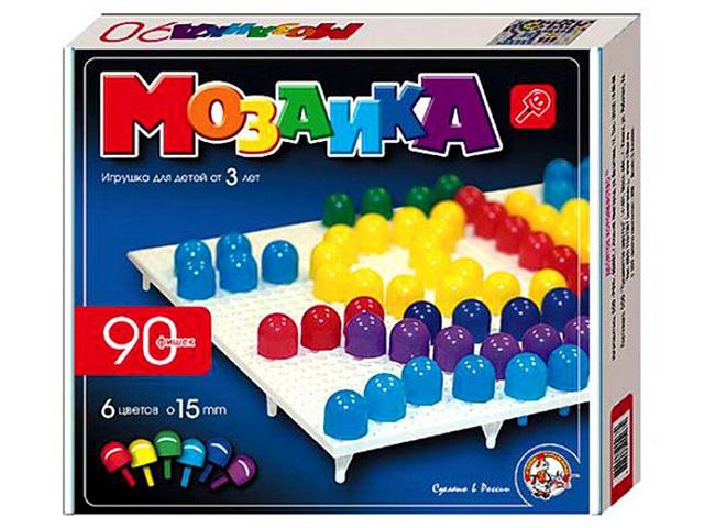 Мозаика 90 фишек, d-15 мм, 6 цветов, круглые фишки, в картонной упаковке