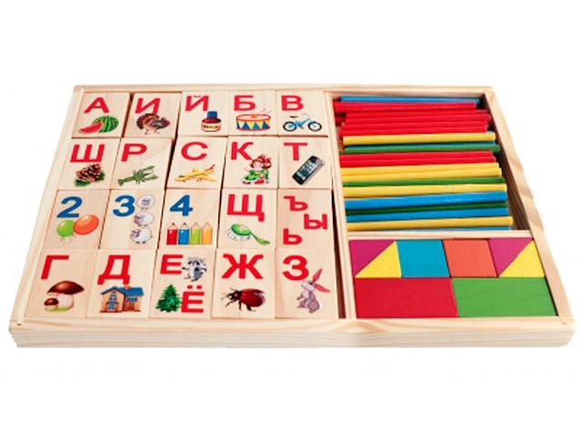"Набор для счета ""Деревянная игрушка. Азбука, палочки и блоки"""