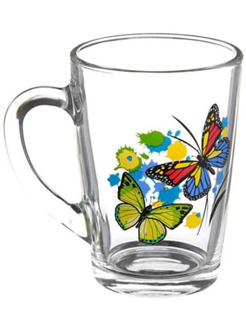 """Кружка """"Капучино. Танец бабочек."""" 300мл, стекло"""
