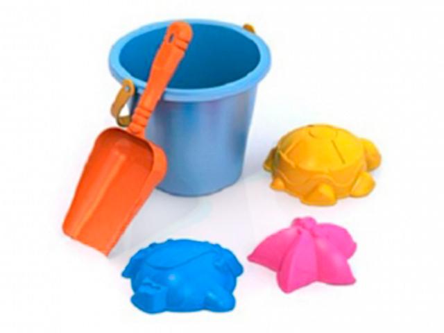 Песочный набор №4 (ведерко, совок, 3 формочки) в сетке