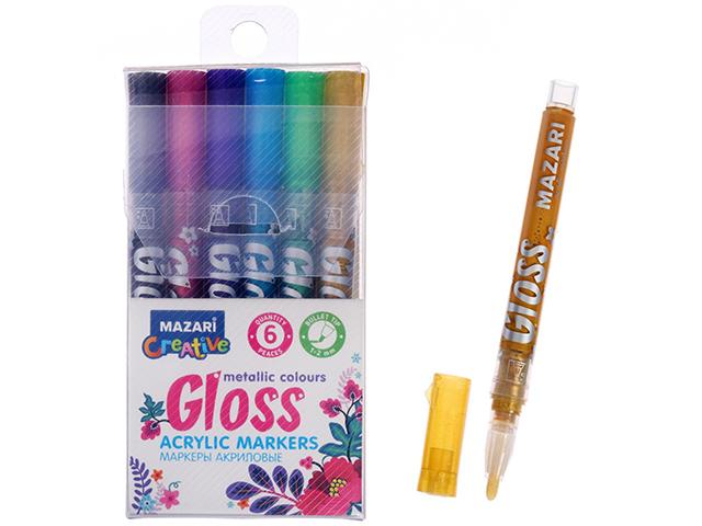 """Набор маркеров-красок """"Mazari Gloss"""" 6 цветов акрил. металлик"""