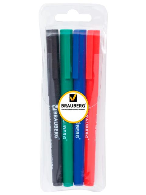"""Маркеры перманентные (нестираемые) BRAUBERG """"CLASSIC Line"""",1 мм, набор 4 шт. (чер,син,кр,зел), 150295"""