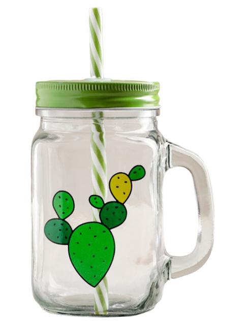 """Бутылка для воды """"Кактусы"""" 450мл, с трубочкой, ручкой, крышкой, стекло"""