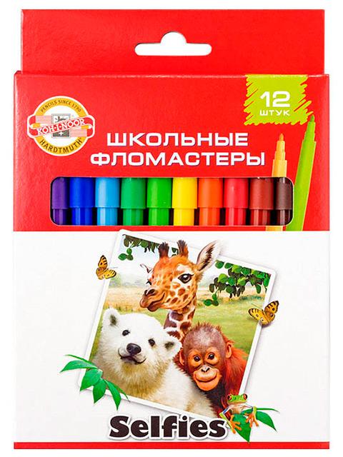 """Фломастеры KOH-I-NOOR """"Selfies"""" 12 цветов, картонная упаковка, европодвес"""