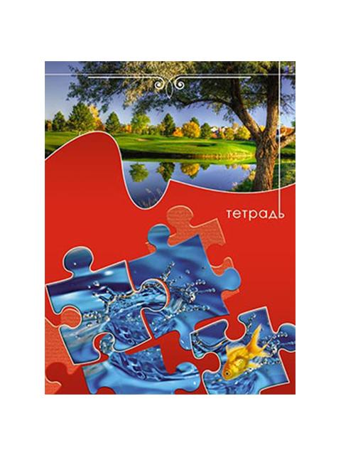 """Тетрадь А5 48 листов клетка Апплика """"Пазл. Природа"""" обложка мелованный картон, на гребне"""