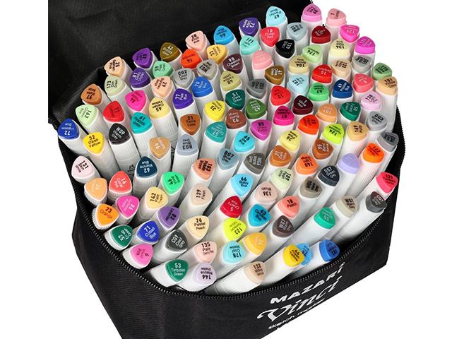 "Набор маркеров для скетчинга Mazari ""VINCI"", 1-7 мм, двусторонние, 120 цветов"