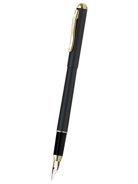 """Ручка перьевая Berlingo """"Velvet Prestige"""" синяя, 0,8мм, корпус черный/золото, пластик. футляр"""