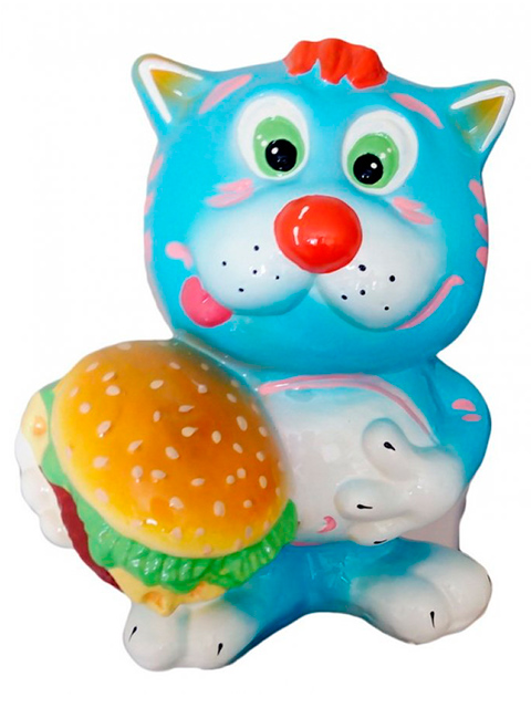"Копилка - кошка ""Кот с гамбургером"""