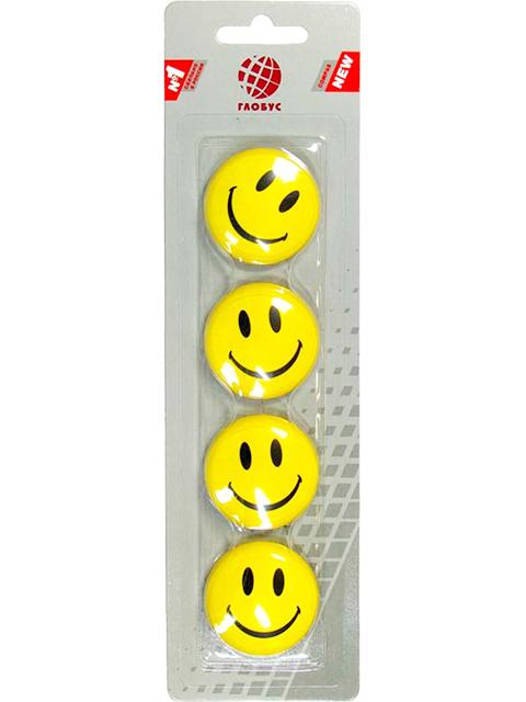 """Набор магнитов для доски Globus """"Смайлики"""" 4 штуки 40 мм, желтые"""