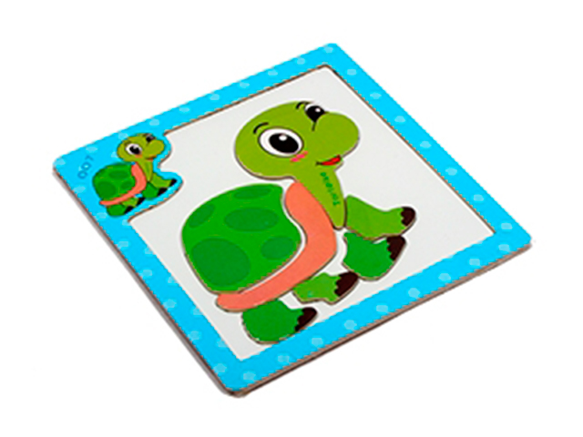 """Пазл- рамка деревянная для малышей, магнитная """"Черепашка"""", 7 элементов. 15х15 см"""