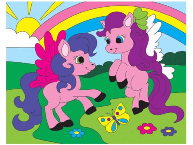 """Набор для детского творчества """"Холст с красками. Забавные пони"""" 20х25 см"""