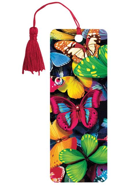 """Закладка для книг 3D, BRAUBERG, объемная c движением """"Бабочки"""", с декоративным шнурком-завязкой, 125748"""