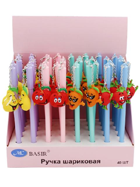 """Ручка шариковая Basir """"Фруктовая семейка"""" с объемным прорезиненным брелоком, ассорти, синяя"""