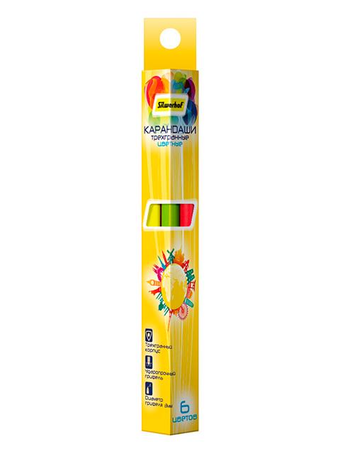 """Карандаши цветные SILWERHOF """"Солнечная коллекция"""" 6 цветов, трехгранные, картон. упак."""
