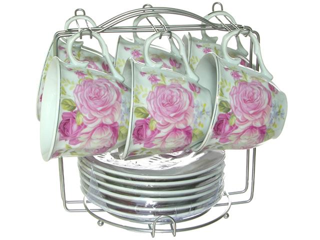 """Чайный набор """"Lavenir. Розовые розы"""" 12 предметов (6 чашек + 6 блюдец) на металлическом стенде, 230мл, фарфор"""