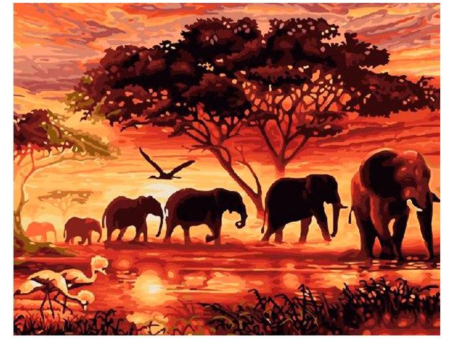 """Картина по номерам """"Планета картин. Слоны на закате"""" 40*50 см"""