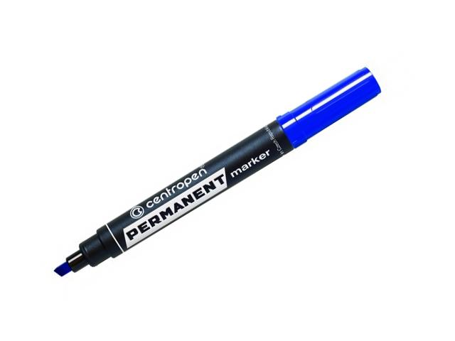 """Маркер перманентный Centropen """"Permanent"""" клиновидный 1-4,6 мм, синий"""