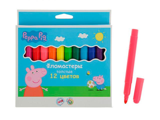 """Фломастеры Росмэн """"Peppa Pig"""" 12 цветов, толстые, в карт. упак."""