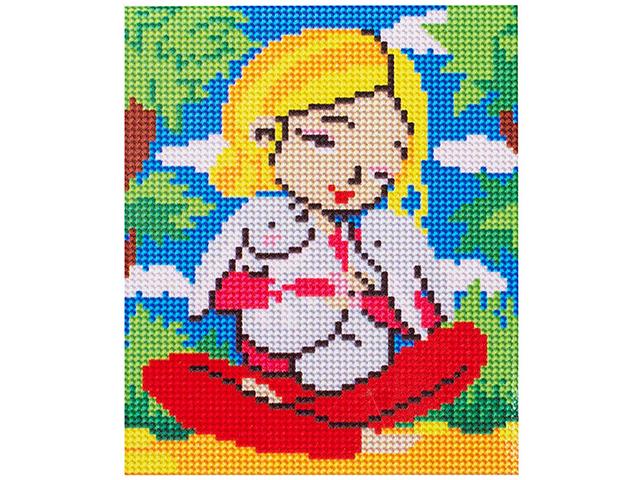 """Алмазная мозаика для маленьких талантов Рыжий кот """"Девочка с зайчиками"""" 17х22 см, на подрамнике"""