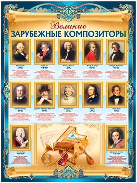 """Плакат А2 """"Великие зарубежные композиторы"""" [02.752.00]"""