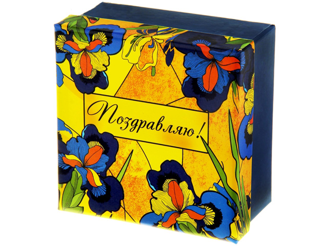 "Коробка подарочная квадратная ""Ирисы"" 11,5х11,5х6 см."