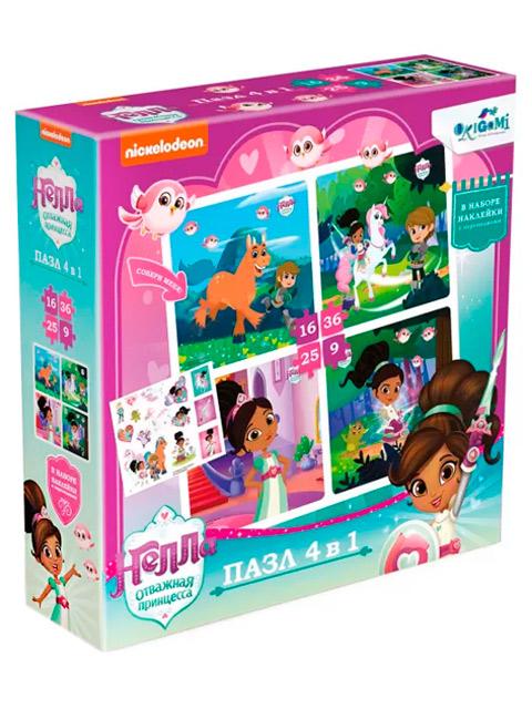 """Пазлы (набор 4в1) 9-16-25-36 элементов Оригами """"Нелла: Мир принцессы"""" с наклейками"""
