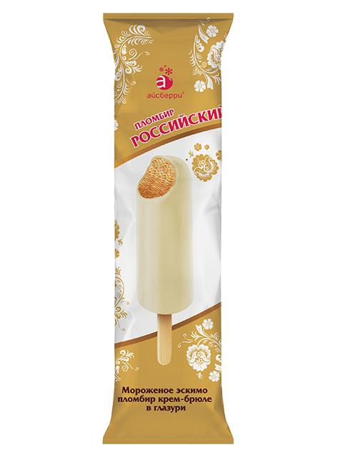 Мороженое Российский пломбир крем-брюле в шоколадной глазури, эскимо, 70г БЗМЖ