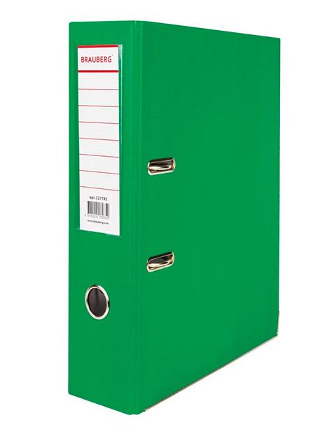 Папка-регистратор BRAUBERG с покрытием из ПВХ, 80 мм, с уголком, зеленая (удвоенный срок службы), 227193