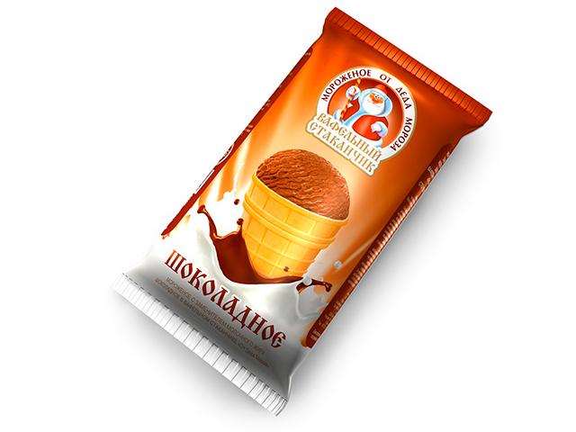 Мороженое от Деда Мороза, в вафельном стаканчике, шоколадное, 70г