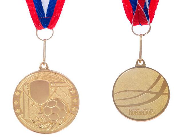 """Медаль тематическая """"Футбол"""" 176 (4 см), металлическая, на ленте, золото"""