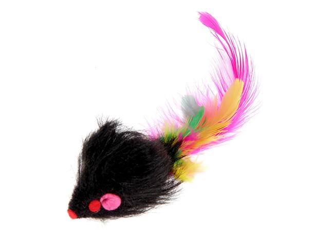 """Игрушка для кошек """"Мышь"""" 6,5см., однотонная, меховая с перьями"""