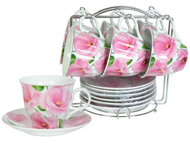 """Чайный набор """"Lavenir. Садовые цветы"""" 12 предметов (6 чашек + 6 блюдец) на металлическом стенде, 230мл, фарфор"""