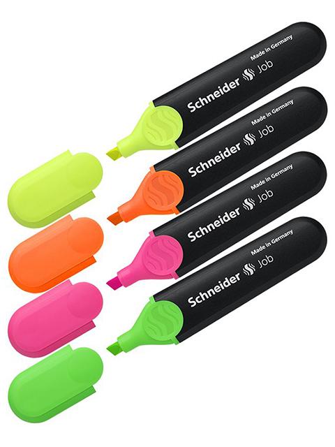 """Набор текстовыделителей Schneider """"Job"""" 4 цвета, 1-5 мм, в ПВХ упаковке, с европодвесом"""