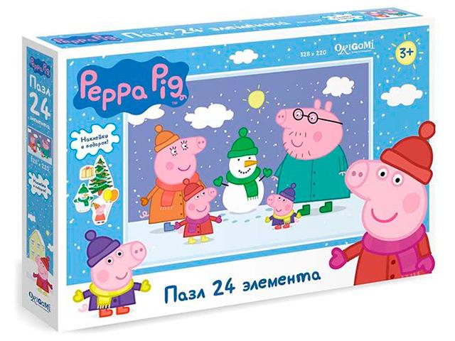 "Пазлы 24 элемента Оригами ""Свинка Пеппа"" с наклейками"
