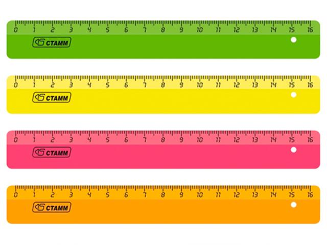 """Линейка пластмассовая 16 см СТАММ """"NEON Cristal"""" прозрачная цветная"""