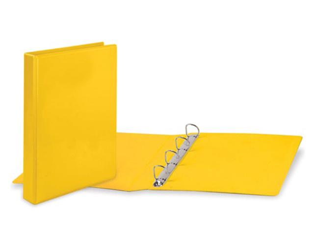Папка на 4 кольцах BRAUBERG, картон/ПВХ, с передним прозрачным карманом, 50 мм, желтая, до 300 листов, 223533