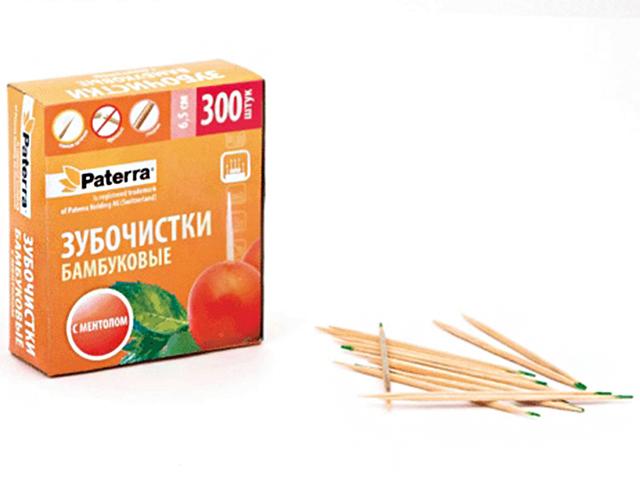 Зубочистки Paterra 300шт, бамбуковые, с ментолом, в картонной упаковке