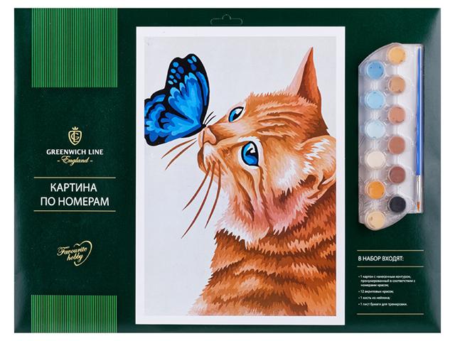 """Картина по номерам А3 Greenwich Line """"Кот и бабочка"""""""