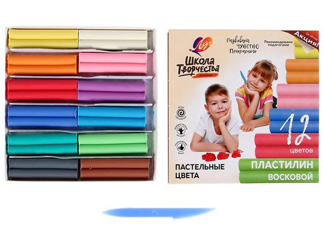 """Пластилин Луч """"Школа творчества"""" 12 цветов, пастельные цвета, восковой"""